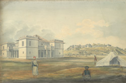 f.12 Guest house of the Coorg Raja; fort in background and tents in foreground.